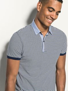 {10} {11} {9}´ss STRIPED SHIRT COLLAR POLO SHIRT at Massimo Dutti for 49.5. Effortless elegance!
