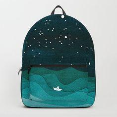 Starry Ocean, teal sailboat watercolor sea waves night Backpack by vapinx Popular Backpacks, Stylish Backpacks, Cute Backpacks, My Bags, Purses And Bags, Fashion Bags, Fashion Backpack, Monkey Bag, Divas