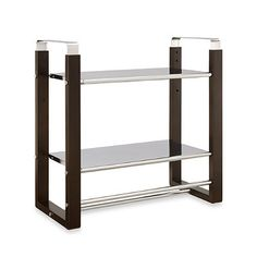 This stylish espresso-and-chrome bath shelf will add pizzazz as well as storage space to your bathroom. It includes two roomy shelves, plus two towel bars at different heights. Bathroom Organization, Bathroom Storage, Bathroom Medicine Cabinet, Bathroom Ideas, Bath Shelf, Towel Shelf, Wedding Gift Registry, First Apartment, Apartment Ideas