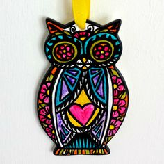 Owl Ornament Hand Painted Folk Art by sewZinski