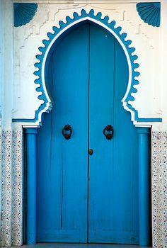 "Morocco Travel Inspiration - ""blue door in Chefchaouen, Morocco"" by Milena Boeva Cool Doors, Unique Doors, Door Knockers, Door Knobs, Doors Galore, When One Door Closes, Door Gate, Grand Entrance, Closed Doors"