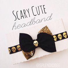 Black gold glitter skulls glitter fabric hair bow by SplendidBee, $6.00