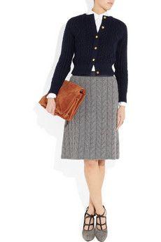 Grey knit skirt + black cardigan + white blouse + black/grey tights/shoes + cognac/gold