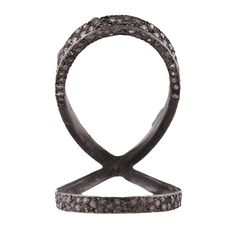 MEREDITH KAHN OXIDIZED STERLING SILVER 'PAVE JAWS OF LIFE' RING WITH SINGLE ROSE CUT DIAMONDS – SIZE 8 Love Adorned