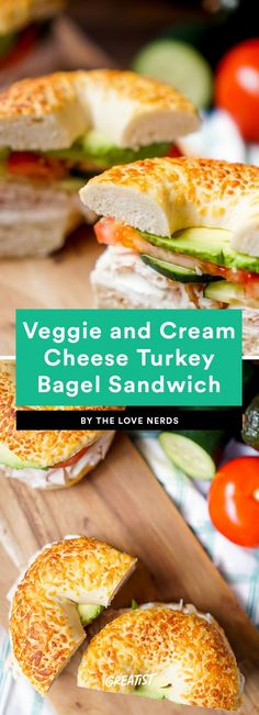 9 No-Cook Lunches You Won't Have to Work At Veggie and Cream Cheese Turkey Bagel Sandwich Healthy Bagel, Healthy Snacks, Healthy Eats, Bagel Sandwich, Sandwich Recipes, Turkey Lunch Meat, Cheese Turkey, Cream Cheese Breakfast, Eat Breakfast