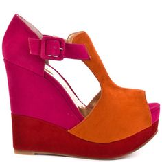 Buckle Up Wedge - Orange Hot Pink by Luichiny