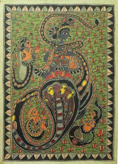Kaliya Daman by Lord Krishna - Madhubani Painting $98.00 only