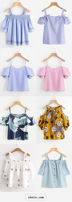Off shoulder blouses. Teen Fashion Outfits, Girl Fashion, Girl Outfits, Cute Blouses, Blouses For Women, Blouse Styles, Blouse Designs, Jugend Mode Outfits, Diy Summer Clothes