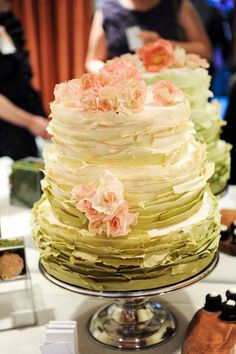 Ombre wedding cake - Greens with touches of pink