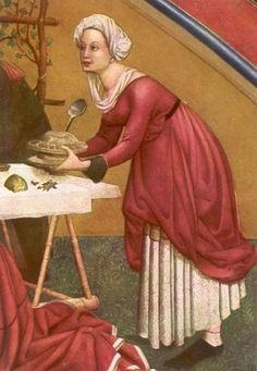 St. Maria Magdalena.. ca 1520. Houtsnijwerk altaarretabel door Lucas Moser. Duitsland, Tiefenbronn, kerk. Maria bedient aan tafel.