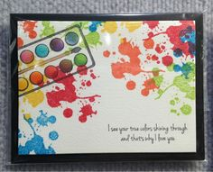 Wandering Star: CHA Winter 2013 - Gourmet Rubber Stamps - loved this paint palette card with splatters :)