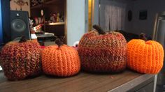 Pumpkins I made with my knifty knitters