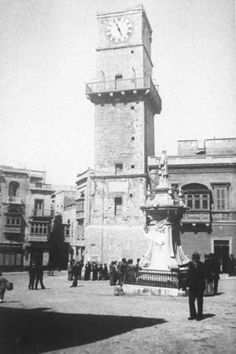 Vittoriosa clock tower. Destroyed during WWII.