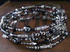 Beaded Memory Wire Bracelet Multi Strand Hematite