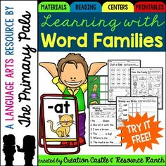 Great Word Families Printables for guided reading and literacy centers! Creation Castle and I are excited to share this free sample of our  -at word family pack! This selection of resources comes from our Word Family series.**************************************************************************Our word family resources have been created to provide everything you will need for instruction of word families in your classroom.