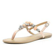 Light pink gemstone T-bar sandals