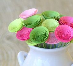 Paper Flowers in Pink and Green Spring Garden by FlowerThyme