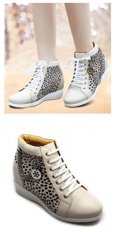 9aeafbf6cf4a New Fashion Women Leopard Pattern Cheap Creamy White Boot Elevator Shoes. Increase  HeightCow ...