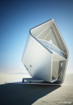 "California Roll House Christopher Daniel Proposed design for a prefabricated home in the desert. ""rcruzniemiec: California Roll House Christopher Daniel Proposed design for a prefabricated home in the desert. Architecture Design, Architecture Antique, Futuristic Architecture, Amazing Architecture, Contemporary Architecture, Architecture Geometric, Origami Architecture, Green Architecture, Building Architecture"