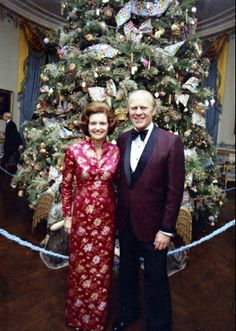President Gerald Ford and First Lady Betty Ford in Front of the Blue Room Christmas Tree, December, 1974