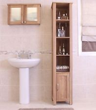Nara tall open cabinet unit solid oak bathroom furniture