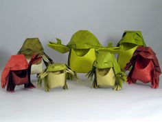 Origami frogs -- smiling, laughing and singing