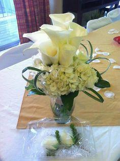 Calla lilies and hydrangea
