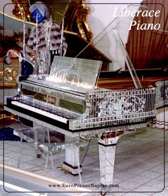 Liberace would have made a sun King, Louis XIV jealous with this crystal piano. Just imagine it in the mirror hall of Versailles. That is what dreams are made of. Play It Again Sam, Baby Grand Pianos, Piano Bar, Piano Player, Playing Piano, Easy Piano, Sound Of Music, Music Stuff, Musical Instruments
