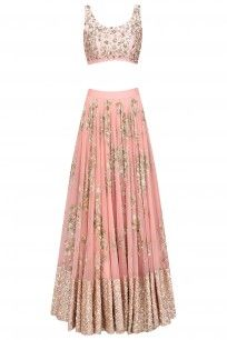 Peach Pink Sequins Floral Work Bridal Wear Lehenga Set #asthanarang #newcollection #shopnow #ppus #Happyshopping