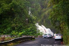 10 top coastal drives in North America. The Hana Highway, Hawaii        Is there any road in Hawaii that is not scenic? With a state as gorgeous as Hawaii, you could close your eyes and point randomly to a map and pick a road, but it has been decreed that the historic Hana Highway is one of the best ways to cruise the island. Starting in Kahului, the 68-mile stretch can take as little as three hours and passes black-sand beaches, bamboo jungles and jaw-dropping waterfalls.