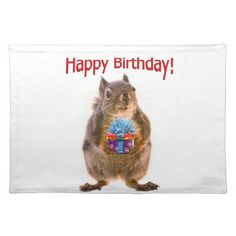 Happy Birthday Squirrel with Present Placemat