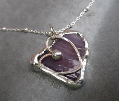 Purple Glass Necklace with Hand Formed Heart Charm by by hurbanski, $25.00