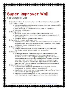 A simple check list for setting up the Super Improver Wall in your classroom. Classroom Behavior Management, Behavior Plans, Behavior Charts, Whole Brain Teaching, Brain Based Learning, 2nd Grade Classroom, School Classroom, Classroom Decor, Teaching Strategies