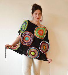 Más tamaño ropa negro suéter chaleco ganchillo por subrosa123