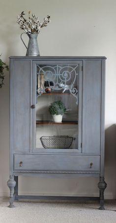 Custom mixed gray paint and antique wax glaze. Modern farmhouse antique china hutch