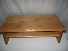 """TRIPLE TIER TV RISER. Handcrafted TV riser made of 3/4"""" seasoned red oak wood. No glue or nails used; assembled with kreg jigs. 2"""" back hole for easy wire placement. Rubber bumpers on bottom to prevent surface scratching. REAL WOOD PRODUCTS."""