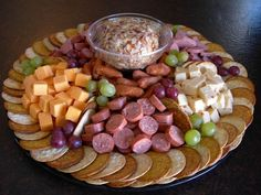 """Just needed a picture of a meat and cheese tray for Ghostbusters party. """"Louis' meat and cheese party platter"""" Cheese And Cracker Platter, Meat And Cheese Tray, Meat Trays, Meat Platter, Food Platters, Cheese Sausage, Sausage Platter, Cheese Party Trays, Cheese Tray Display"""