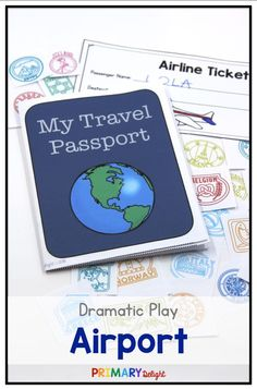 Create a fun airport dramatic play center for preschool or kindergarten. Includes tickets, passports, signs - lots of reading and writing!