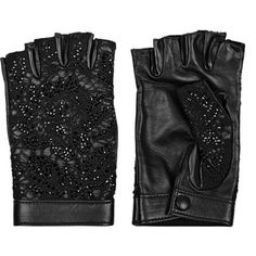 Valentino Embellished leather and lace fingerless gloves