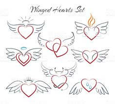 Hearts with wings in doodle style vector. Hearts with wings in doodle style vector illustration isolated on white background. Decoration sketch heart with nimbus Wrist Tattoos, Cute Tattoos, Body Art Tattoos, Small Tattoos, Sleeve Tattoos, Heart Tattoos, Tatoos, Angel Wings Drawing, Heart With Wings Tattoo