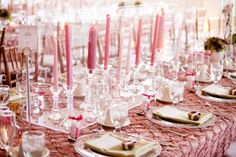 Pink Table Lighting The room wasn't equipped for extra lighting or wattage, so the couple used lots of candlesticks in crystal holders to give tables a romantic, ambient glow. Reception Table, Reception Decorations, Event Decor, Event Ideas, Reception Ideas, Party Ideas, Simple Centerpieces, Candle Centerpieces, Centrepieces