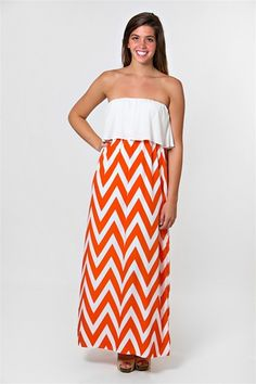 Color Me Chevron Maxi Dress - Orange