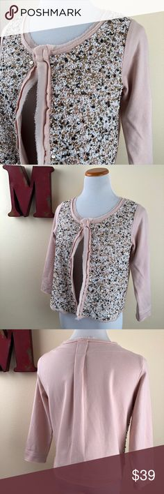 """ANTHROPOLOGIE Postmark Sequin Paillette Cardigan Embellished sweatshirt. Add a little sparkle to your favorite distressed denim and tee or use as a topper for a fancy frock. Hook and eye closure. Length: 19"""" Bust: 18"""" Excellent preowned condition. Beading intact. Anthropologie Sweaters Cardigans"""