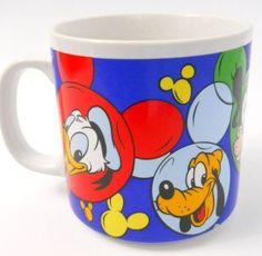 Disney Coffee Mug Donald Pluto Goofy Mickey Minnie Mouse in Colorful Ear Circles #Disney: