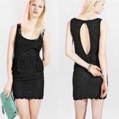 Preparty sale!  Pins and needles peplum dress Price drop! ⬇️ Size small Pins and Needles brand peplum black lace dress from Urban Outfitters. Open back and great for fall and winter! Fits true to size. First two images from company website  Urban Outfitters Dresses Backless