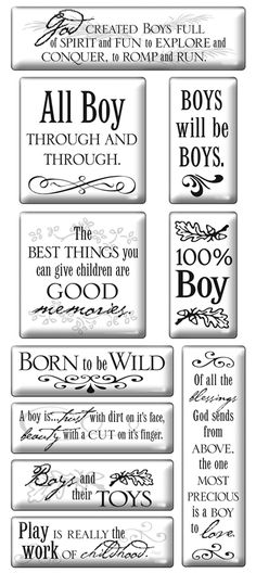 Image detail for -Cloud 9 Design Sticker - Boy Epoxy Quote