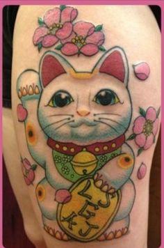 Lucky Cat, i will have one like this someday! Elephant Tattoos, Wolf Tattoos, Feather Tattoos, Star Tattoos, Tatoos, Maneki Neko Tattoo, Kokeshi Tattoo, Lucky Cat Tattoo, Tattoo Cat