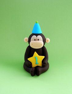 Monkey fondant cake topper. Fondant monkey by SugarDecorByLetty