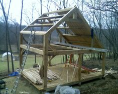 Building Your Home Small Log Cabin, Tiny Cabins, Tiny House Cabin, Tiny House Design, Small House Plans, Small House Layout, House Layouts, Timber Frame Cabin, Timber Frames