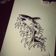 #shark #tattoo #blackworks #traditional #draw                                                                                                                                                                                 More Hammerhead Shark Tattoo, Shark Tattoos, Animal Tattoos, Traditional Tattoo Stencils, Traditional Shark Tattoo, Future Tattoos, New Tattoos, Rose Outline Tattoo, Dj Tattoo